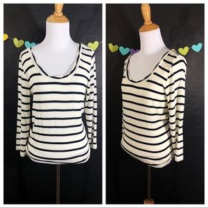 Cabi Black/White Striped Shirt
